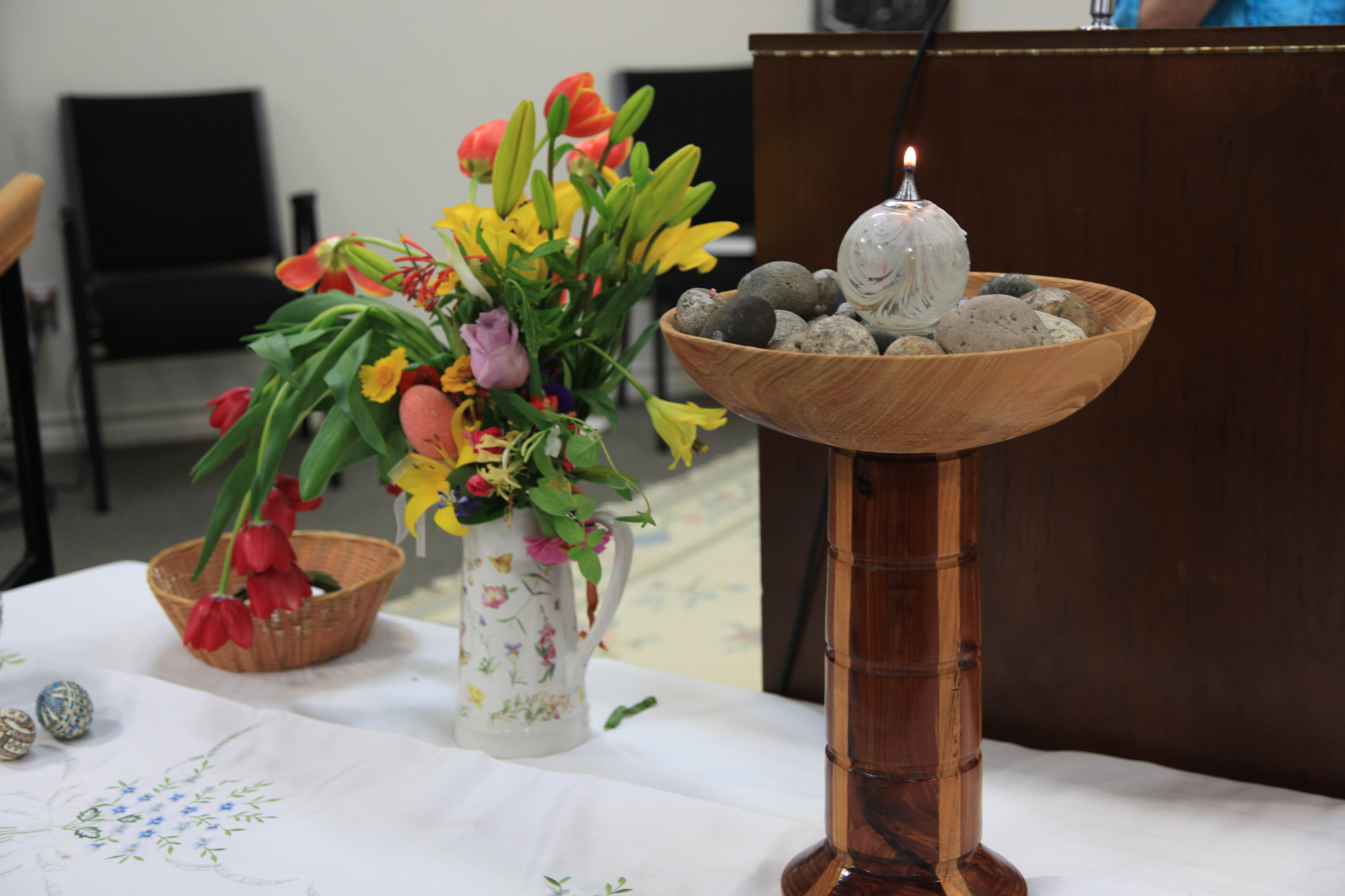Unitarian Lamp and Flowers